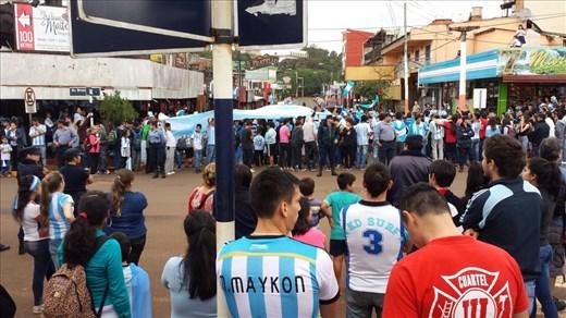 Next 3 pictures, celebrating Argentina World Cup win in Foz do Iguazu, Argentina