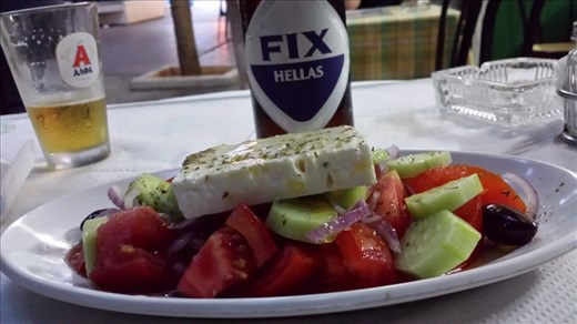 Greek salad and Fix beer. Great combination