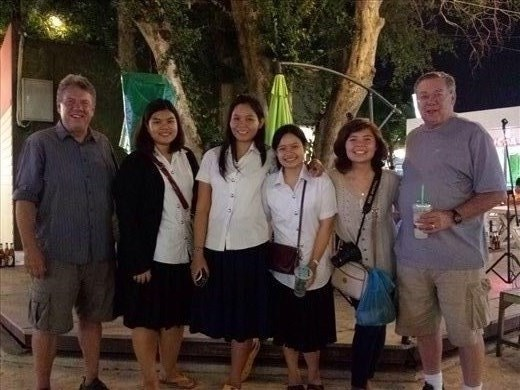 Spent the evening with Lea and some of her classmates. College students at some schools in Thailand wear uniforms.