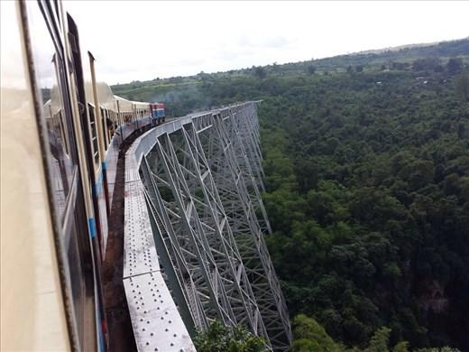 A exiting train ride, especially over this bridge.