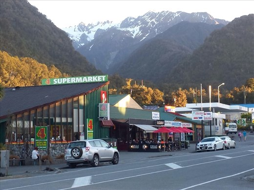 Downtown Franz Josef. Restaurants very expensive, $20. for fish and chips. I've been buying food at the market and cooking at the hostal.