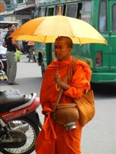 Monk outside the Russian Markets in Phnom Penh: by lisaf, Views[230]