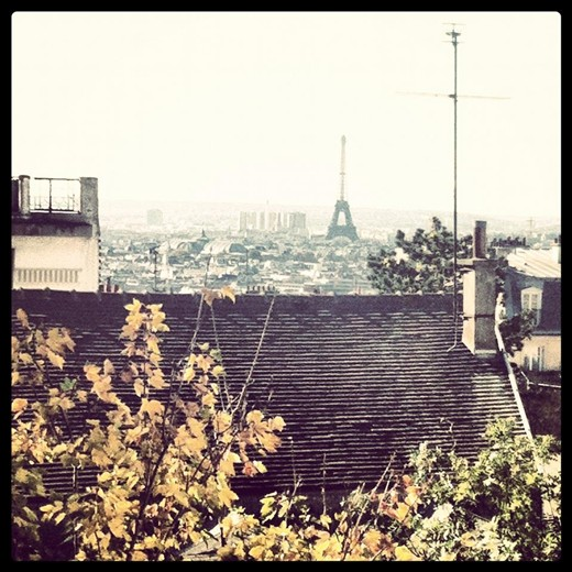 My very first glimpse of the Eiffel Tower.