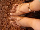 Dirty feet after three days in dirt country, Pakse - Paksong - Sekong: by lisamorrison, Views[529]