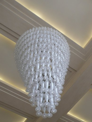 Chandelier of champagne flutes