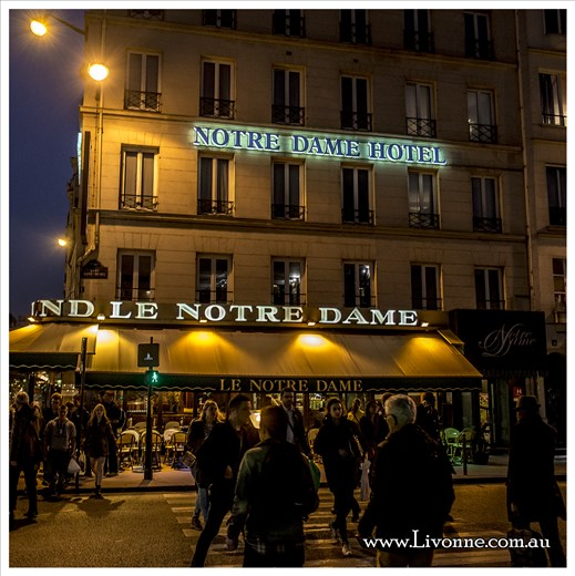 Notre Dame Hotel at night