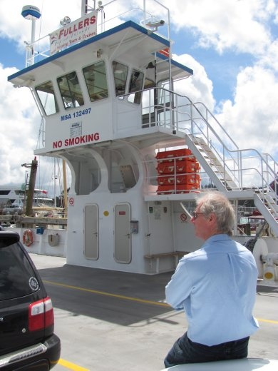 Greg on Opua-Okiato car ferry to Russell