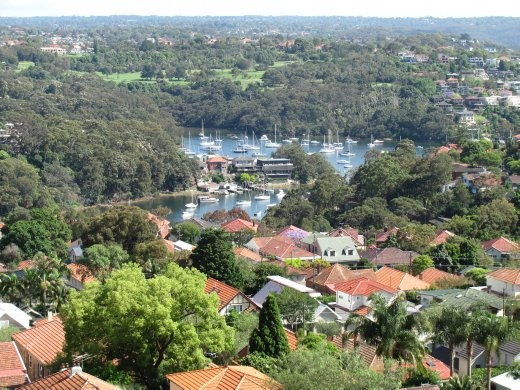 View of the basin, from Tony's 9th floor flat in Cremorne, Sydney