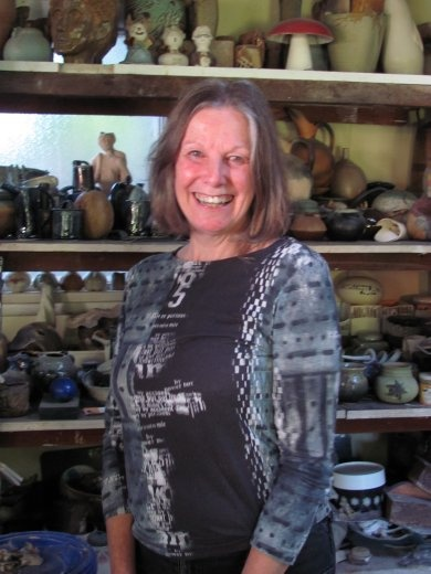 Passionate ceramicist Nicky Coady in her workshop.
