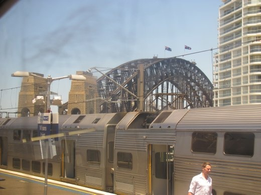 Coming up to Sydney Harbour Bridge on the train.