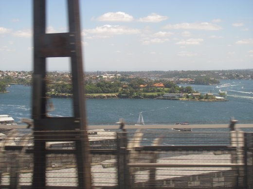 Going over the Sydney Harbour Bridge on the train.