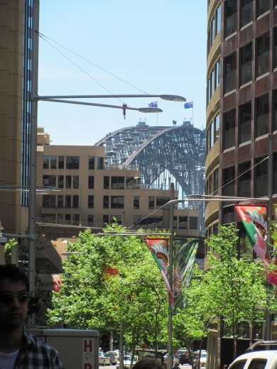 Harbour Bridge peeking through the sky-scrapers