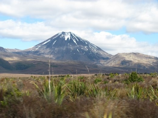 The scrubby plains of TheTongariro National Park with Mount Ruapehu  erupting from them.