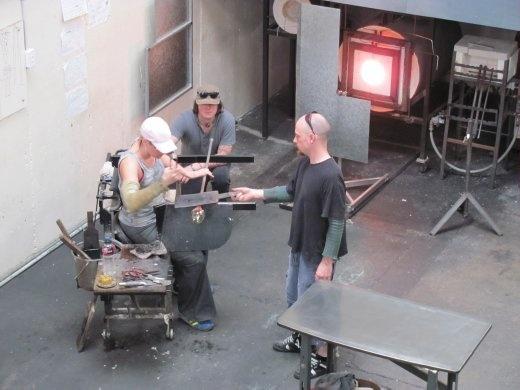 Kate working in her glass studio in Wanganui