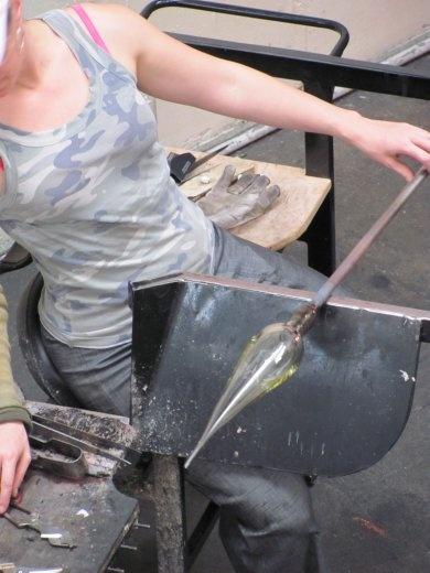 Kate turning her glass lamp-shade in the studio in Wanganui