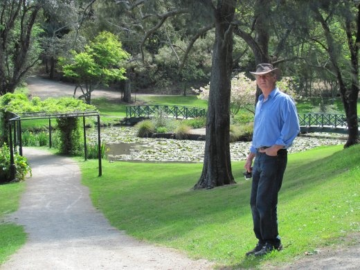 Greg enjoying the peacefulness and the bridges in the Virginia Lake Reserve
