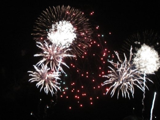 Part of the Guy Fawkes firework display, at the harbour in Wellington