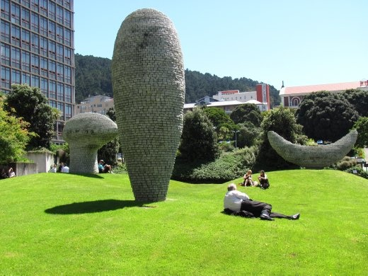Unusual sculptures close to the Beehive, right in the city centre, Wellington.