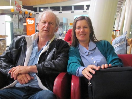 Greg and Karen, in the early hours - 05.00am- at Wellington airport, waiting to fly out to Sydney.
