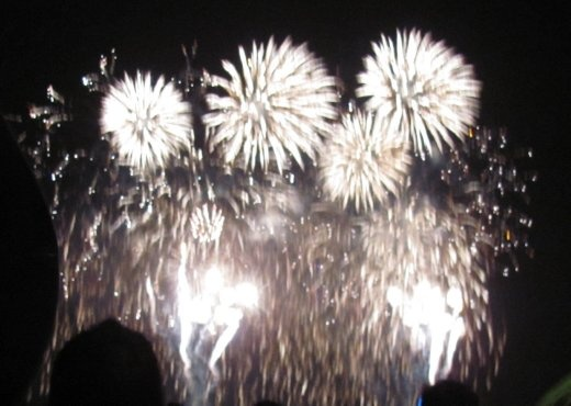The conclusion of the firework display