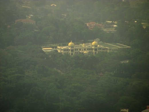 The King's Palace swimming in lush gardens - taken from the KL Tower through a smokey haze.