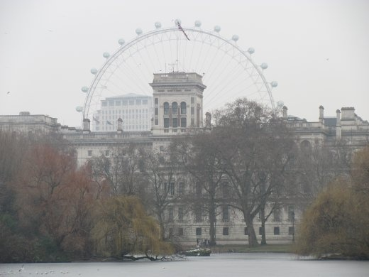 'The Eye' big wheel encircling grand government buildings at the top end of St James' Park.