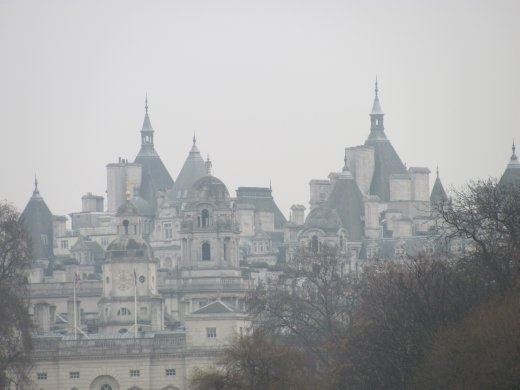 A delightful array of London roof-tops, seen from St James' Park.