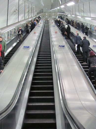 Some of these tube escalators are steep and long!