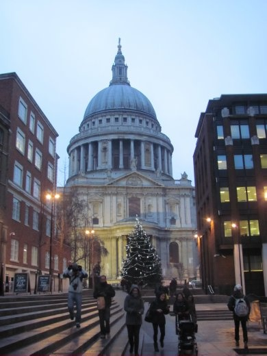 St Paul's dome taken from the 'Millenium Bridge'. A large Christmas tree stands out in front of the catherdral