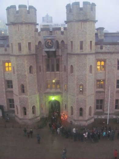 The part of the Tower of London that houses the crown jewels - and all the crowds waiting to see them - the queue was over an hour long