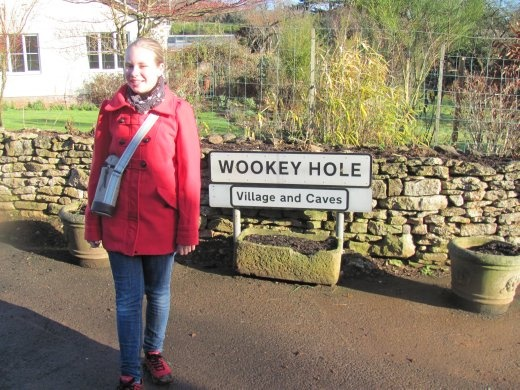 Grace reaches Wookey Hole without losing her boots in the ankle deep mud we've just come through!