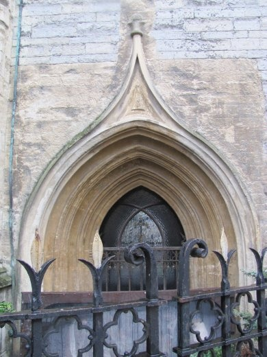 Beautiful and old doorway to church in the centre of Cardiff's main shopping area