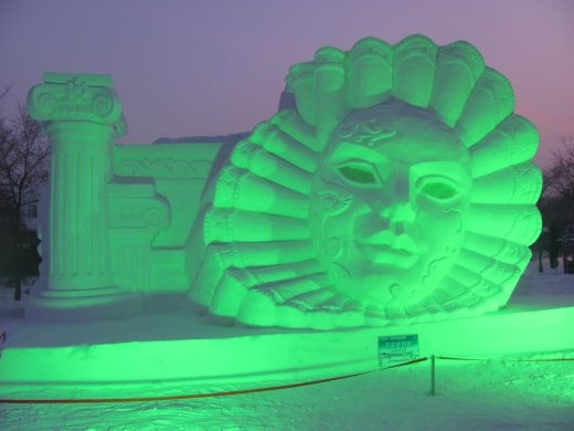Then as dusk crept in they started to light up the sculptures - would have liked to have stayed longer, but we were FREEZING