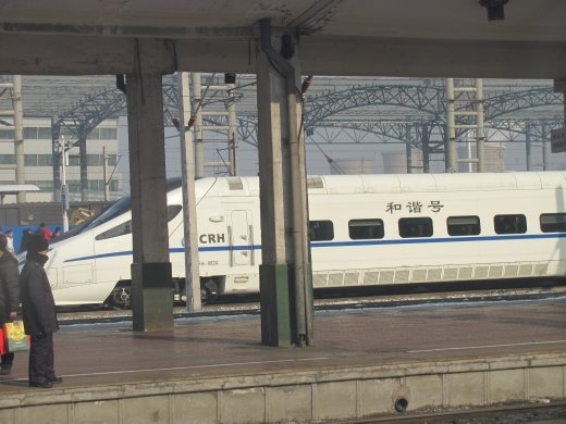 We had the luxury of travelling to Beijing on one of these Bullet trains - super-fast, warm and comfortable!