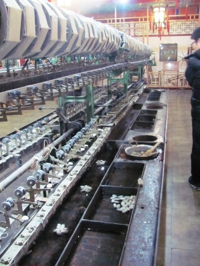 This is a silk production line - extracting the silk from the cocoons