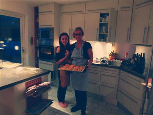 My Swedish host mother and I at Christmas making Saffron Buns