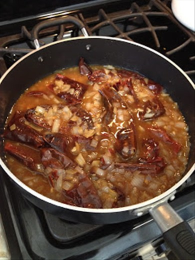 Red chile mix simmering.