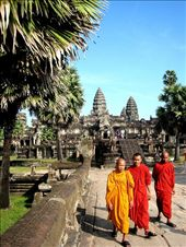 My favourite picture of Angkor Wat.  I love the robes and the blue sky....: by lolo, Views[293]