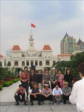 I loved this group having a photo taken in front of this building...Ho Chi Minh City Hall: by lolo, Views[432]