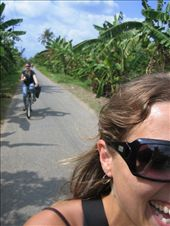 Riding bikes in the Mekong Delta, along a sunny palm fringed road.  : by lolo, Views[290]