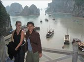 Hannah and I outside of the caves...Halong Bay stretches out beneath us.: by lolo, Views[495]