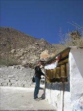 Spinning the prayer wheels at Drepung Monastary, about 7km out of Lhasa.  This was literally one of the best days I had in Tibet ~ beautiful sunny weather, a great hike, and friendly people.: by lolo, Views[356]