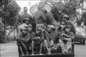 """Indonesian bandbus: The drum orchestra also accompanied us on our way to the bride's village. All musicians in traditional Sasak uniform with sarong, jacket and """"udeng"""", the headkerchief. Also present: the """"Beleq"""" (a big cylindrical drum): by lombok, Views[177]"""