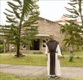 Brother Peter, a Trappist monk, poses in front of the Abbey Church: by loriejoy, Views[1600]