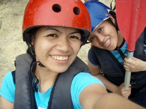 Nomad Lorie and a friend in the background. We're ready to conquer the rapids of the Cagayan de Oro river