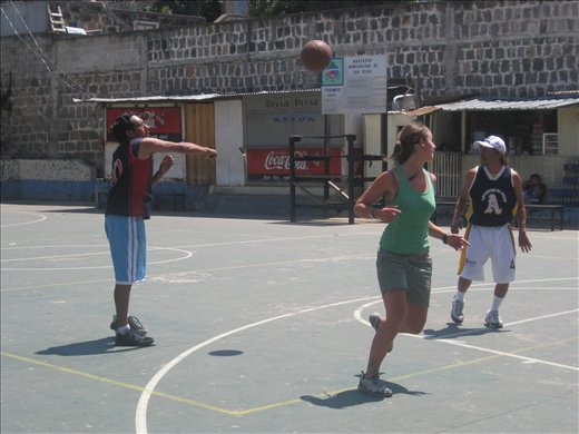 loz playing bball with some locals and our spanish teacher