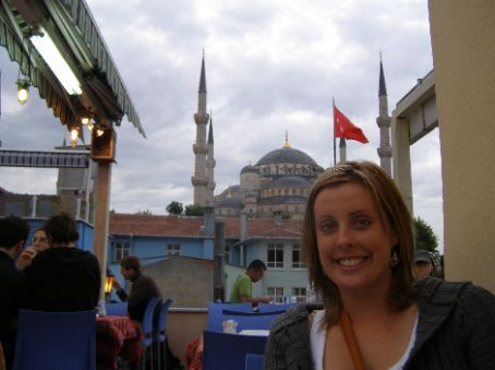 Our last dinner in Turkey at Doi Doi's cafe looking over to the blue mosque!