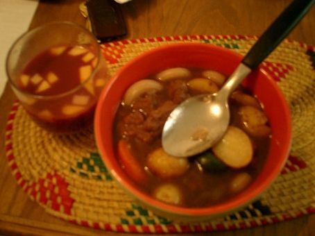 Lucy made beef stew and sangria.