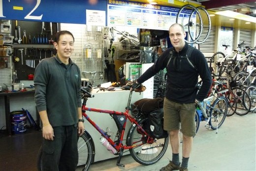This is Taku and I at Cycle Works in Kichijoji, Tokyo ( http://www.c-w-s.co.jp/ ) Taku did an excellent job of setting up the bike for me. After buying my first bike and having the Thorn built here I left Tokyo feeling confident that all would be fine with the equipment.