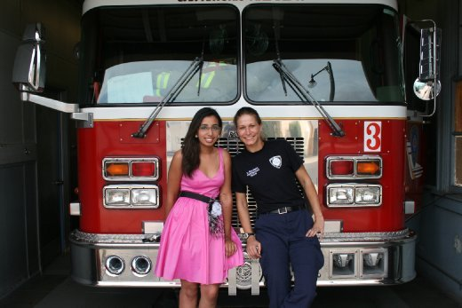 Female firefighter Dawn and I.